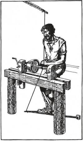 Токарный станок с ножным приводом