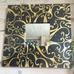 Зеркало с деревянной расписной рамой