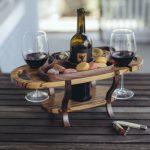 Держатель бутылок деревянный с подносом (пример)