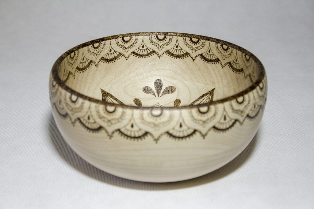 Пирография, выжигание мандалы на чаше