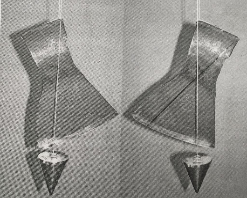Определения центра массы головы топора